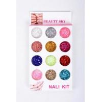 Сухой блеск набор Nail Kit 12 цветов