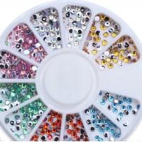 Стразы в карусельке разноцветные голографические