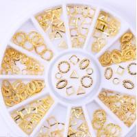 Металлические украшения для ногтей в карусельке