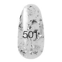 New! Гель лак KODI № 501 (прозрачный с серебристыми блестками и полосками) 8 мл
