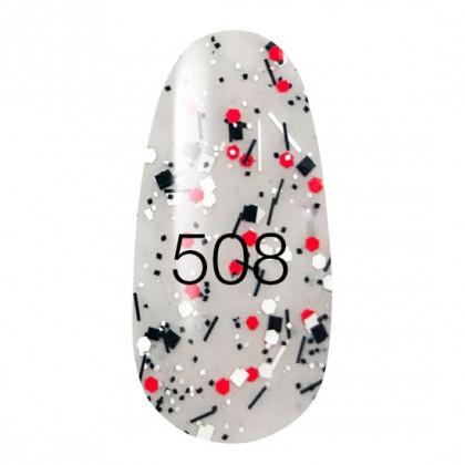 New! Гель лак KODI № 508 прозрачный с красными и черными блестками и полосками 8 мл