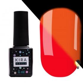 Гель-лак Kira Nails FLUO 007 (морквяно-червоний, флуоресцентний), 6 мл