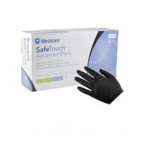 Перчатки нитриловые плотные Medicom Safe Touch Черные размер S, 100 шт
