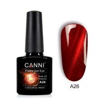 """Гель-лак """"Oгненный кошачий глаз"""" flame cat eye (темно красный) №А26 CANNI 7,3 мл"""
