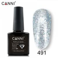 """Гель-лак """"Жидкая фольга"""" №491 CANNI (голографическое серебро), 7,3 мл"""