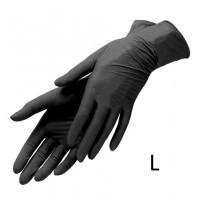 Перчатки нитриловые, без пудры, черные, размер L, 100 штук