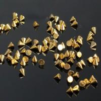 Декор металический конусный, шипы (золото) 3*3 мм