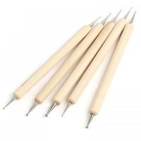 Набор дотсев для дизайна ногтей с деревянной ручкой 5 штук