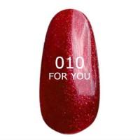 Гель лак (бордовый c шиммером, микроблеском, мерцанием) FOR YOU № 010 8 мл