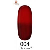 Гель-лак F.O.X Thermo ® №004 (коричнево-бордовый, при нагревании красный), 6 мл