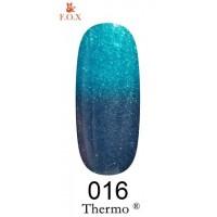 Гель-лак F.O.X Thermo ® №016 (синий, при нагревании ярко-бирюзовый с микроблеском), 6 мл