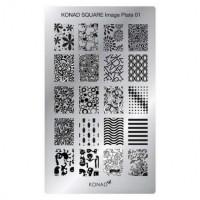 Пластины для стемпинга KONAD прямоугольные