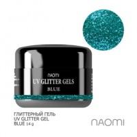 Глиттерный гель Naomi UV Glitter Gel Blue, 14 г