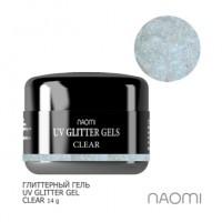 Глиттерный гель Naomi UV Glitter Gel Clear, 14 г