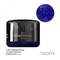 Глиттерный гель Naomi UV Glitter Gel Dark Blue, 14 г