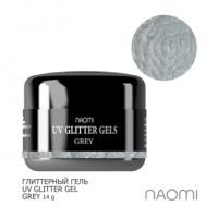 Глиттерный гель Naomi UV Glitter Gel Grey, 14 г