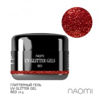 Глиттерный гель Naomi UV Glitter Gel Red, 14 г