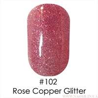 Гель лак 102 Rose Copper Glittar Naomi 6ml