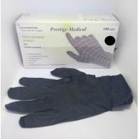 Перчатки Prestige S Мedical без пудры, текстурированные, черные 100 штук