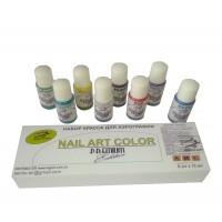 Набор 8 акриловых красок для аэрографа, PREMIUM, Nail-Art Water series  по 15ml
