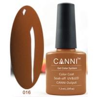 Гель-лак CANNI №016 (тёмно-коричневый, эмаль), 7,3 мл