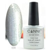 Гель-лак CANNI №008 (плотный серебристый цвет, перламутр с мелким блеском), 7,3 мл