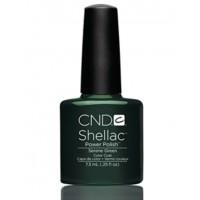 Гель-лак CND Shellac Serene Green (зеленый изумрудный с мерцающим микроблеском), 7,3 мл